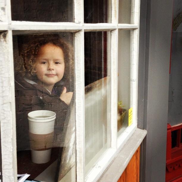 Kira Drinking Hot Chocolate