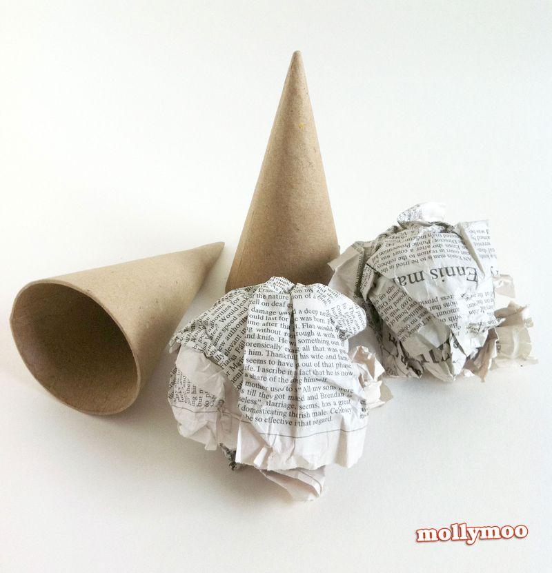 Papier-mache-cones